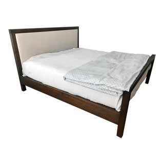 Modern Bddw Mills Upholstered Black Walnut King Bedframe For Sale