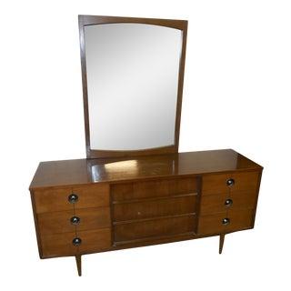 1960s Mid-Century Danish Modern Stanley FinnLine Walnut Dresser with Mirror - a Pair For Sale