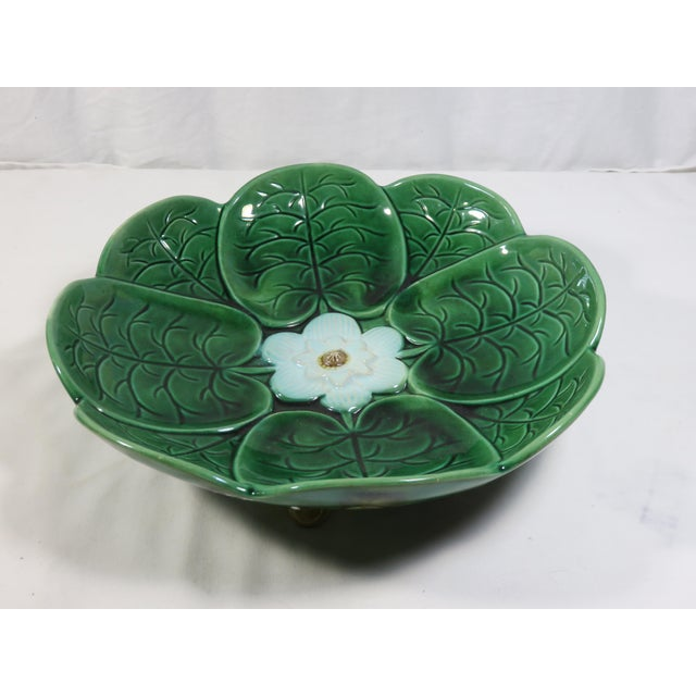 1880s Large Antique Majolica Footed Serving Bowl For Sale - Image 13 of 13
