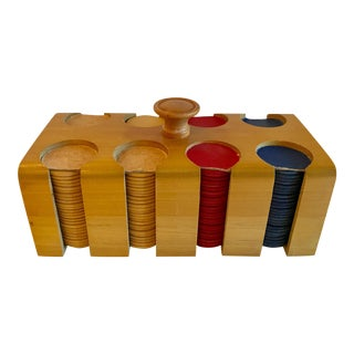 Vintage Poker Chip Set With Wooden Caddy For Sale