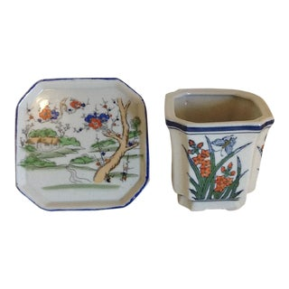 Late 20th Century Chinoiserie Octagon Planter & Tray - Set of 2 For Sale