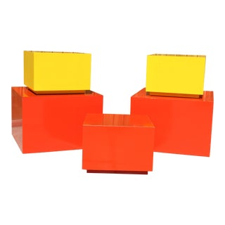 1960s Vintage Pop Art Cube Tables & Cabinets - Set of 5 For Sale