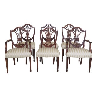 Set of 6 Stickley Shield Back Mahogany Dining Room Chairs For Sale
