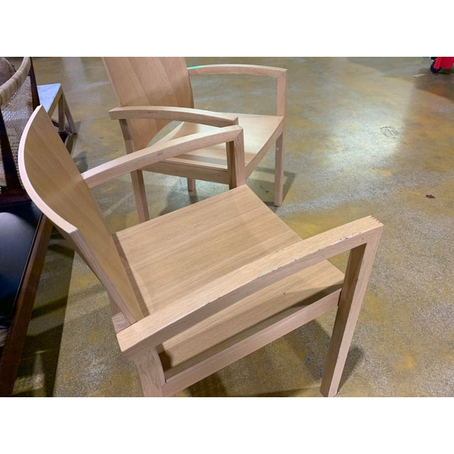 Contemporary 1980s Italian Cerused, Rift-Sawn White Oak Accent / Dining Arm Chairs, a Pair For Sale - Image 3 of 13