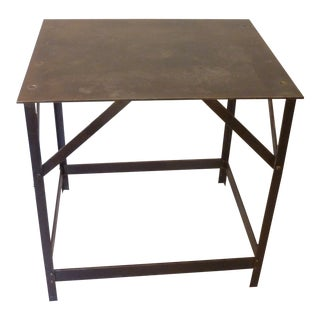 20th Century Industrial Steel Side Table For Sale
