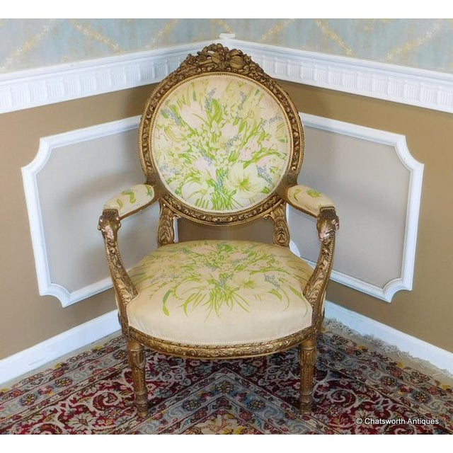 French Carved Giltwood Louis XVI Parlor Set - S/4 - Image 6 of 10