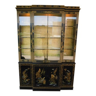 "Drexel Heritage Et Cetera Chinoiserie Decorated Lighted China Cabinet 55""w For Sale"
