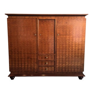 French parquetry Cabinet Armoire by Jules Leleu For Sale