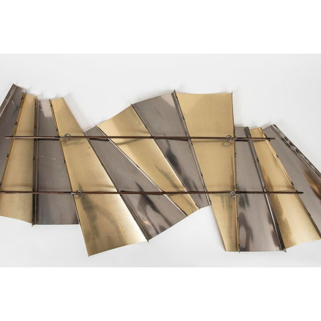 Curtis Jere Curtis Jere Brass and Chrome Wall Sculpture For Sale - Image 4 of 5