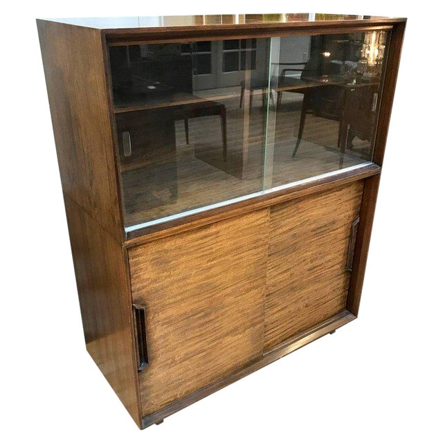 1950s Mid-Century Modern Milo Baughman for Drexel Perspective Mindoro Wood China Hutch For Sale