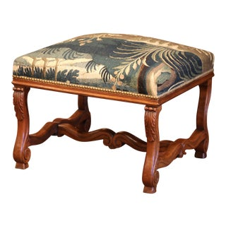 19th Century French Louis XIII Carved Walnut Stool and Verdure Aubusson Tapestry For Sale