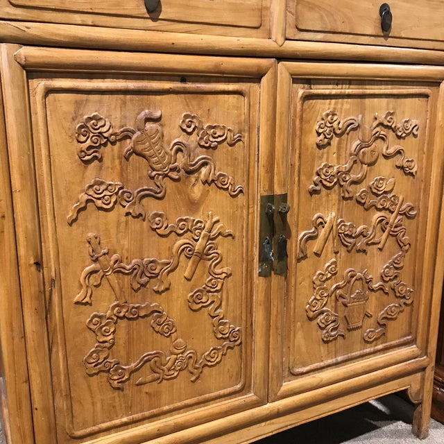 Available right now we have this gorgeous Asian country/BoHo chic style cabinet. It features brass accents, is heavily...