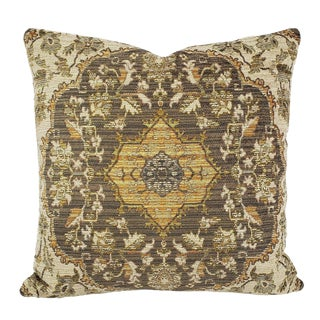 """Kravet Design 33219.1611 - 20"""" X 20"""" Pillow Cover - Gold, Cream, and Gray Damask Chenille Accent Cushion Case For Sale"""