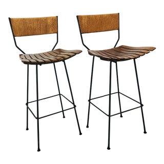 Mid-Century Modern Arthur Umanoff Slat Bar Stools for Raymor- a Pair For Sale