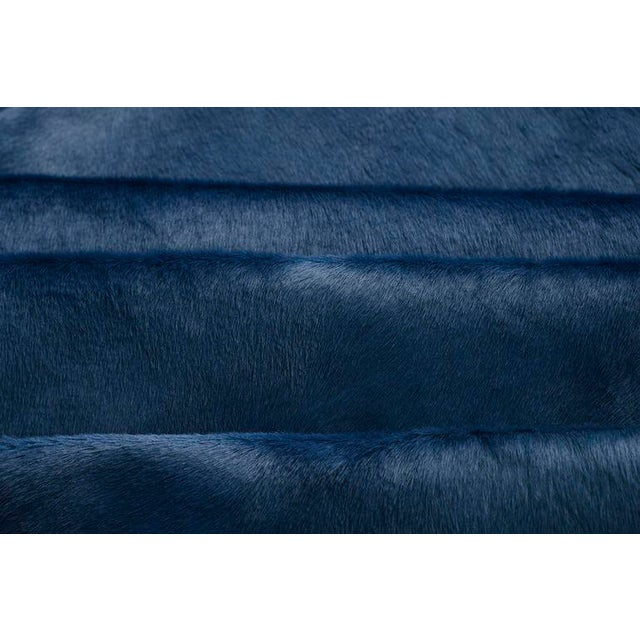 Contemporary Navy Blue Cow Hide Rug - 7′ × 8′ For Sale - Image 3 of 5