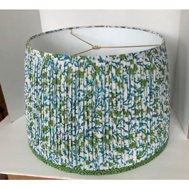 Contemporary Pleated Lampshade- Green and Blue Lamp Shade-Blue Floral Pleated Lampshade -Custom Made-To-Order-Home Decor-Gathered Lamp Shade-Floral Lamp For Sale - Image 3 of 4
