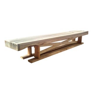 Boho Chic Walnut Patio Bench For Sale