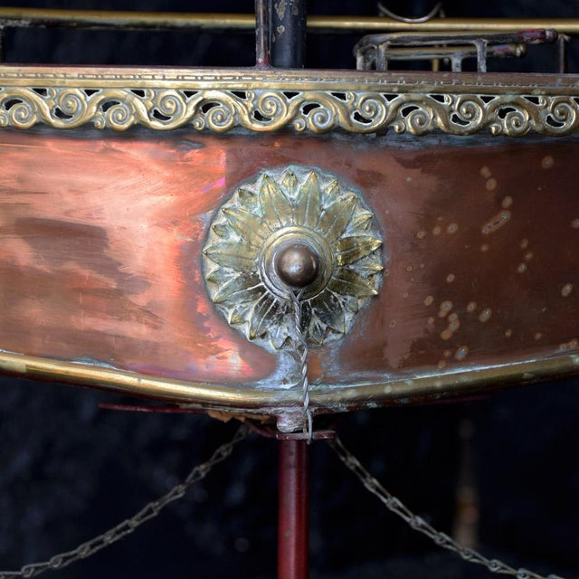 An amazing 19th Century Votive Copper sea vessel model. We are proud to offer an amazing example of a 19th Century French...