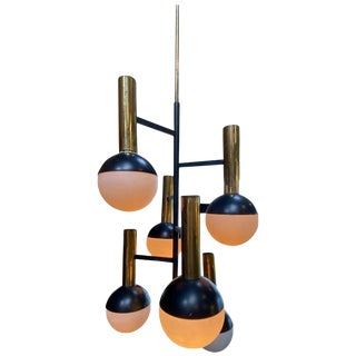 Stilnovo Midcentury Brass 5 Opaline Glass Chandelier, Italy, Circa 1955 For Sale