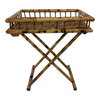 Rattan Folding Tray on Stand For Sale