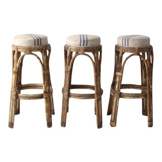 Vintage Rattan Bar Stools - Set of 3 For Sale