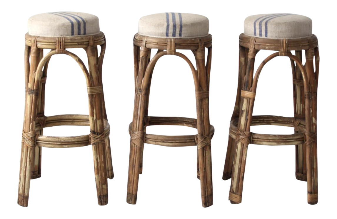 Vintage Rattan Bar Stools   Set Of 3
