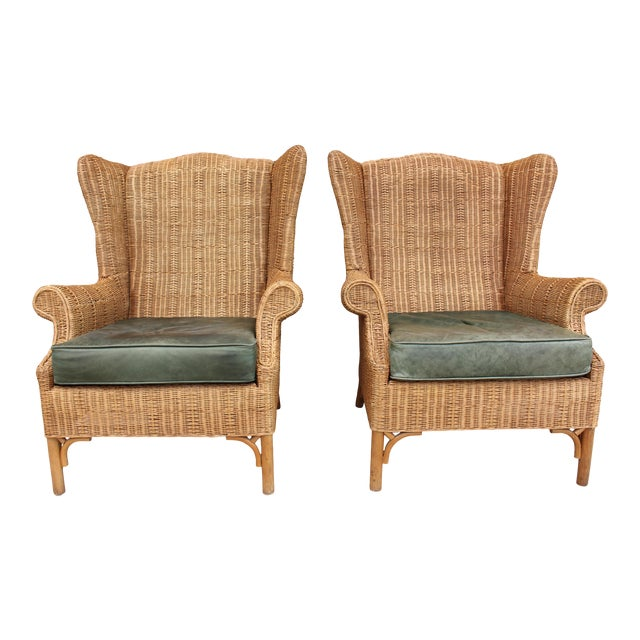 1970s Vintage Henry Link Woven Wicker Wingback Chairs- A Pair For Sale