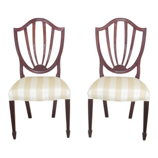 Modern Baker Shield Back Mahogany Dining Room Chairs- A Pair For Sale
