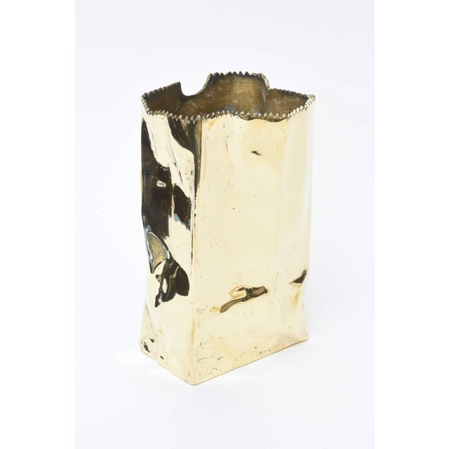 French Hallmarked Limited Edition Brass/ Bronze Crushed Paper Bag Sculpture For Sale - Image 4 of 11