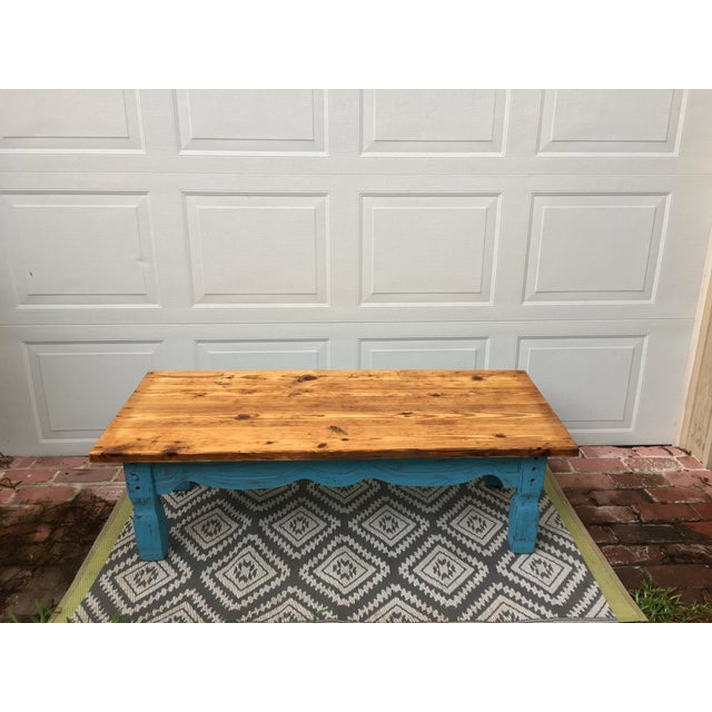 Wood Boho Chic Reclaimed Heart-Pine Coffee Table For Sale - Image 7 of 7