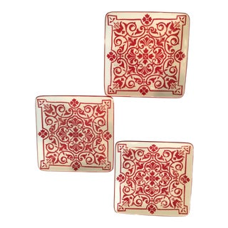 Vintage Italian Tile Style White & Red Decorative Plates - Set of 3