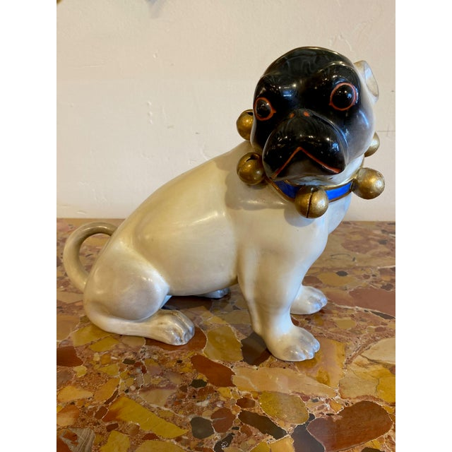 Figurative Standing German Pug With Bell Collar For Sale - Image 4 of 9