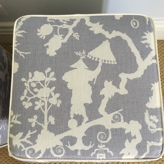 Schumacher Chinoiserie Schumacher Cube Ottomans - a Pair For Sale - Image 4 of 8