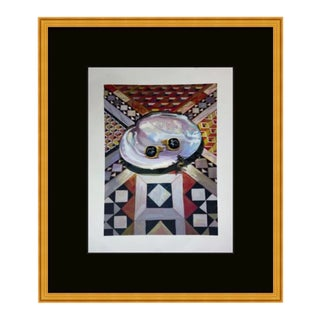 Original Gucci Lithograph of Geometric Oyster Cuff Links in Gold Wood Frame For Sale