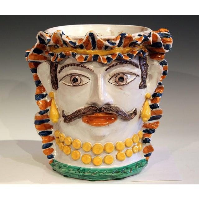 Large Italian Sicilian Pottery Head Vase For Sale - Image 11 of 11