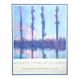 "Claude Monet Rare Vintage 1978 Lithograph Print Framed Impressionist Metropolitan Museum of Art Collector's Exhibition Poster "" Poplars "" 1891 For Sale"