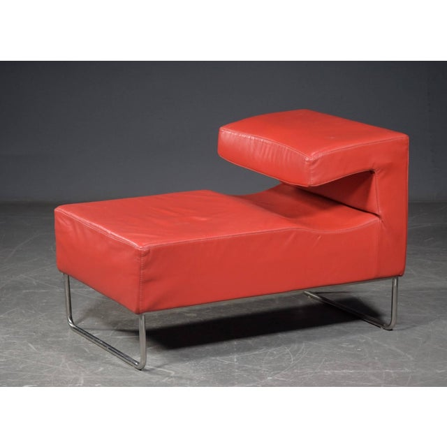 Red Chaise Longue Chair For Sale - Image 4 of 5