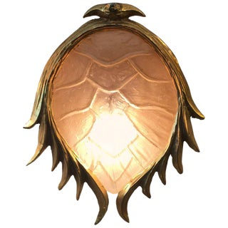 Resin Tortoise Shell in Gilt Metal Wall Light in the Manner of Tony Duquette For Sale