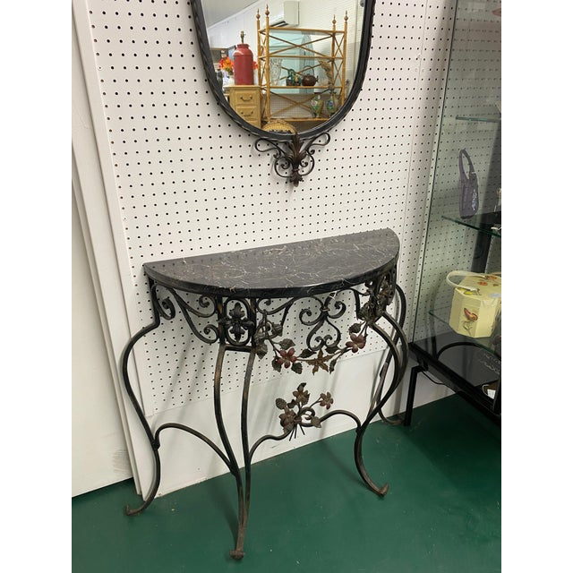 1920s Early 19th C Hand Wrought Iron & Marble Console & Mirror Set For Sale - Image 5 of 6