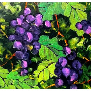 Lynne French Summer Garden Vineyard Arbor Grapes Painting For Sale