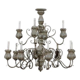 Italian Twelve-Light Painted Wood Chandelier with Flower Shaped Bobeches For Sale