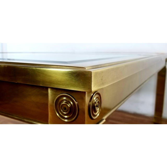 Mid-Century Modern Mastercraft Brass and Beveled Glass Extension Table With Columnar Legs For Sale - Image 11 of 13