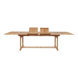 Ihland Rectangular Teak Outdoor Dining Table with Double Extensions For Sale