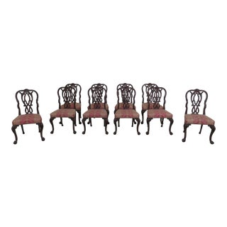 1990s Vintage Karges Georgian Walnut Clawfoot Dining Room Chairs- Set of 10 For Sale