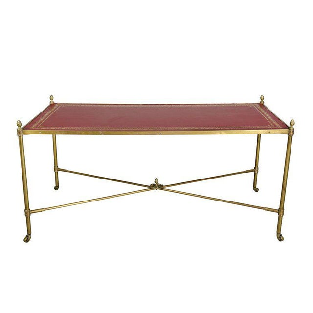 Directoire Style Brass and Leather Coffee Table For Sale - Image 10 of 10