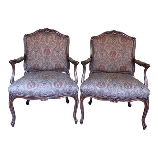 Old Hickory Tannery French Louis Style Chairs - a Pair