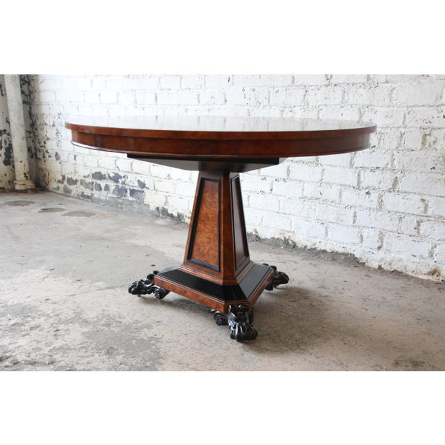 Hollywood Regency Baker Furniture Stately Homes Collection Burl Ash Regency Center Table For Sale - Image 3 of 12