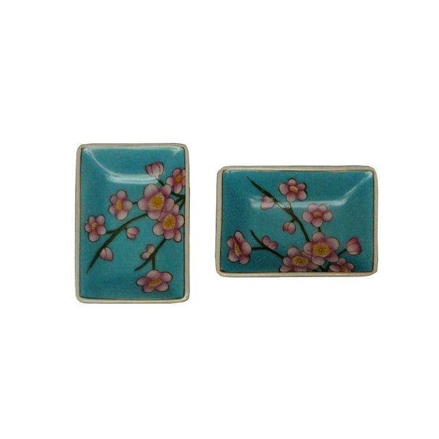 Quality Asian Artist Hand Painted Porcelain Rectangular Display Dishes - a Pair For Sale - Image 5 of 5