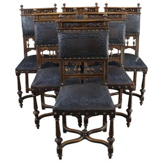 Dining Chairs Antique French Renaissance 1890 Set of 6 For Sale