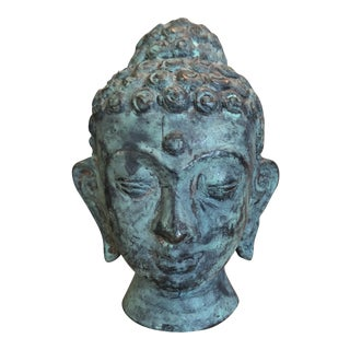 Vintage Cast Bronze Buddha Head Bust For Sale